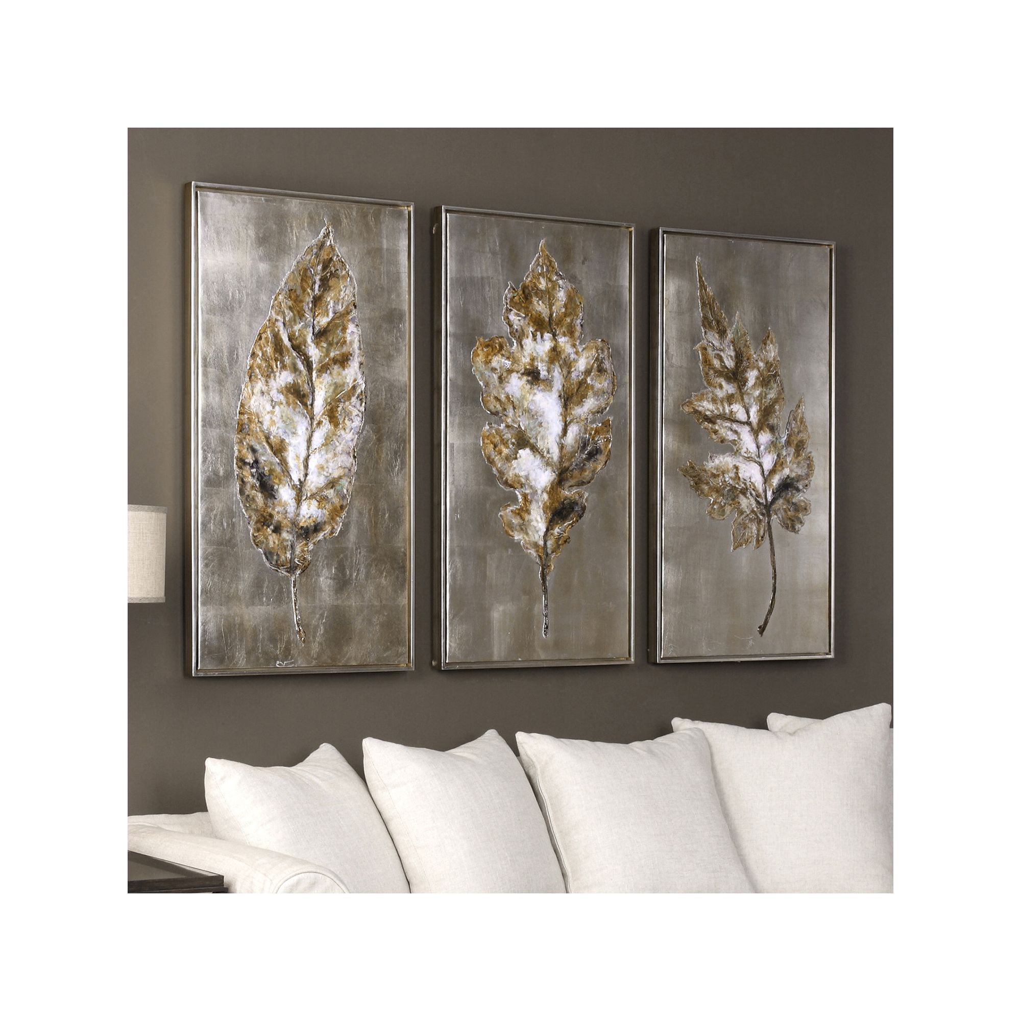 Uttermost Champagne Leaves Framed Wall Art 3 Piece Set In 2019 Within Most Popular 2 Piece Panel Wood Wall Decor Sets (Set Of 2) (Gallery 5 of 20)