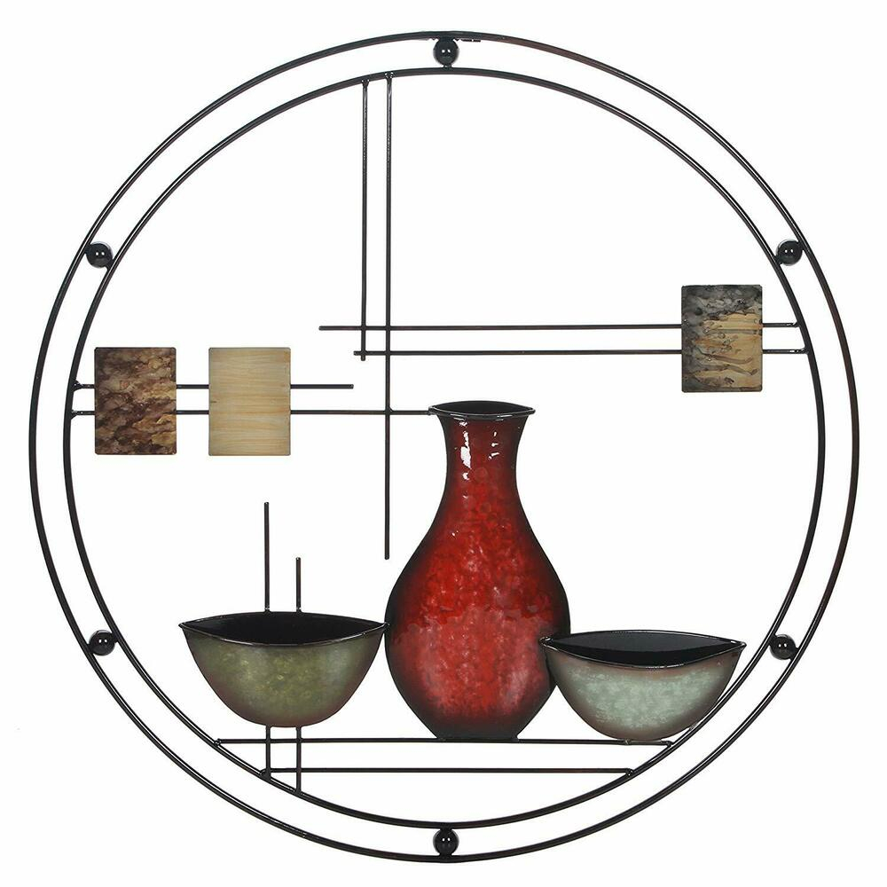Vase And Bowl Wall Decor With Preferred Wall Metal Art Modern Abstract Decor Home Sculpture Vase Hang Bowl (View 14 of 20)