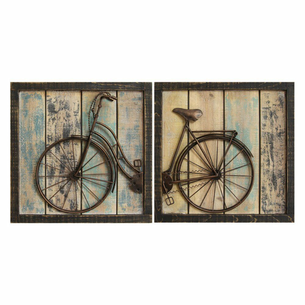 Vintage Wall Art Rustic Bicycle Wall Decor Set Of 2 Distressed Wood in Newest Bike Wall Decor