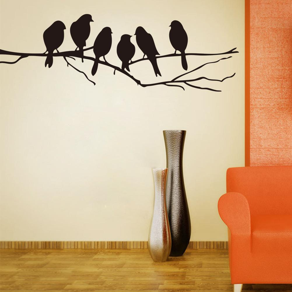 Wall Art Mural Decor Sticker Black Cute Birds On The Branch Wall For Recent Birds On A Branch Wall Decor (View 2 of 20)