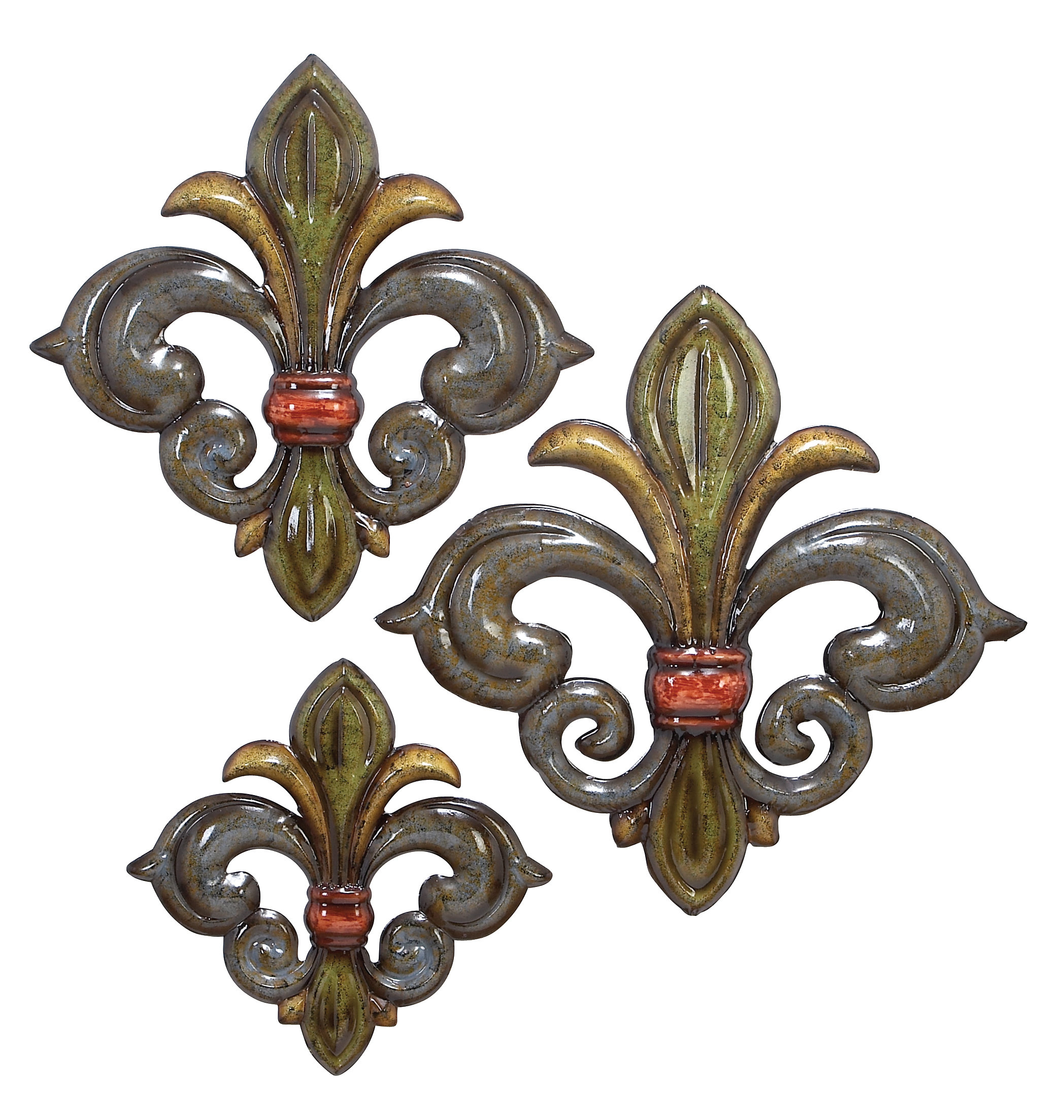 Wall Decor By Cole & Grey With Well Known Cole & Grey 3 Piece Metal Fleur De Lis Wall Decor Set (Gallery 9 of 20)
