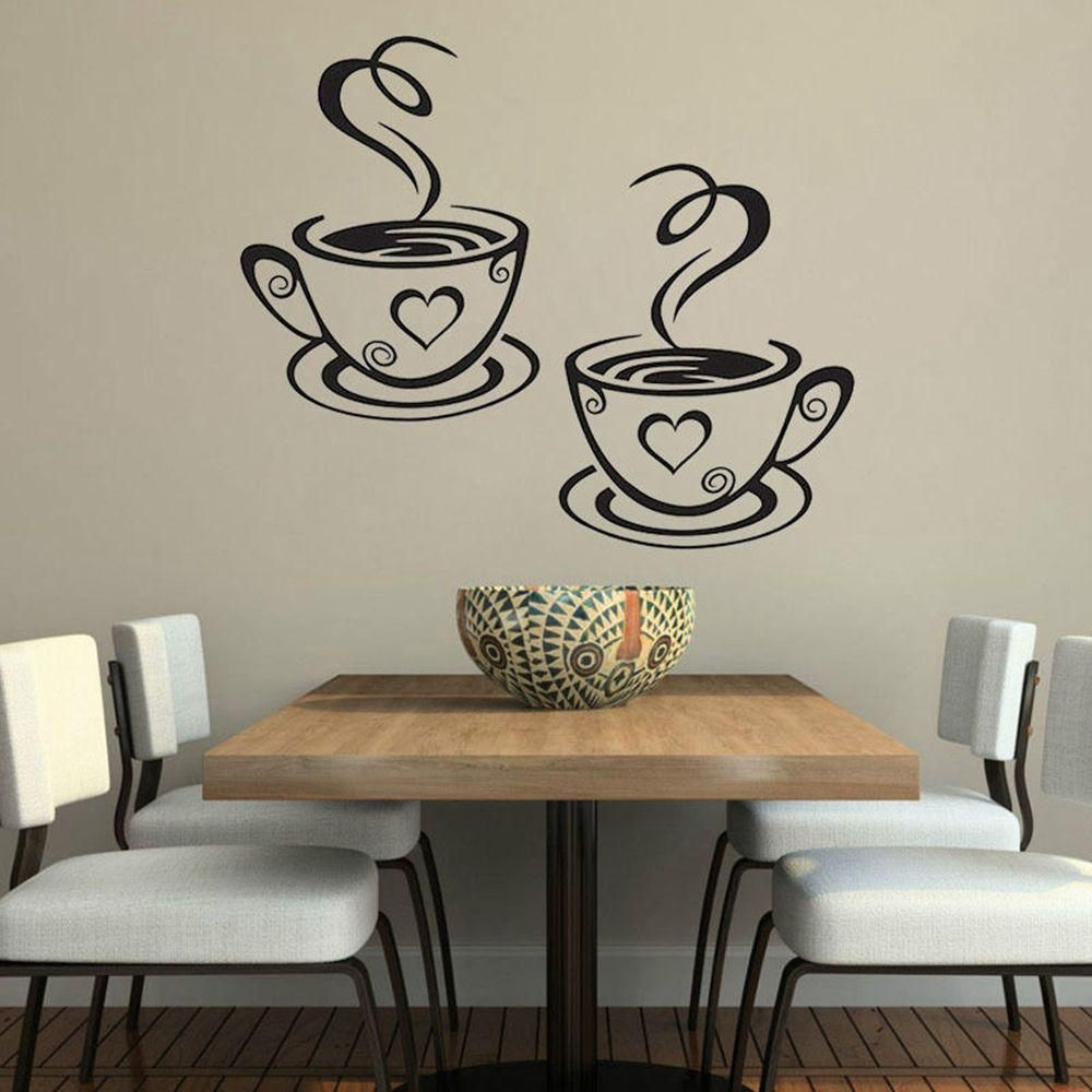 Wall Sticker Tea Coffee Cups Home Decal Cafe Dining Room $ (View 15 of 20)