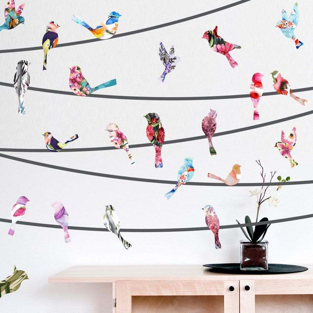 Watercolor Birds On A Wire Wall Decals (Gallery 7 of 20)