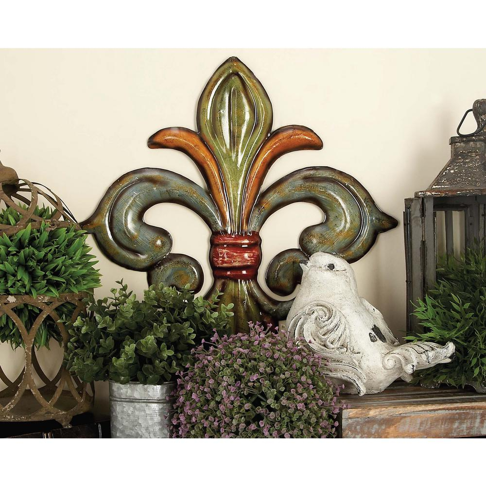 Well Known 2 Piece Metal Wall Decor Sets By Fleur De Lis Living For Litton Lane Metal Fleur De Lis Wall Decor In Green, Gold And Red (View 2 of 20)