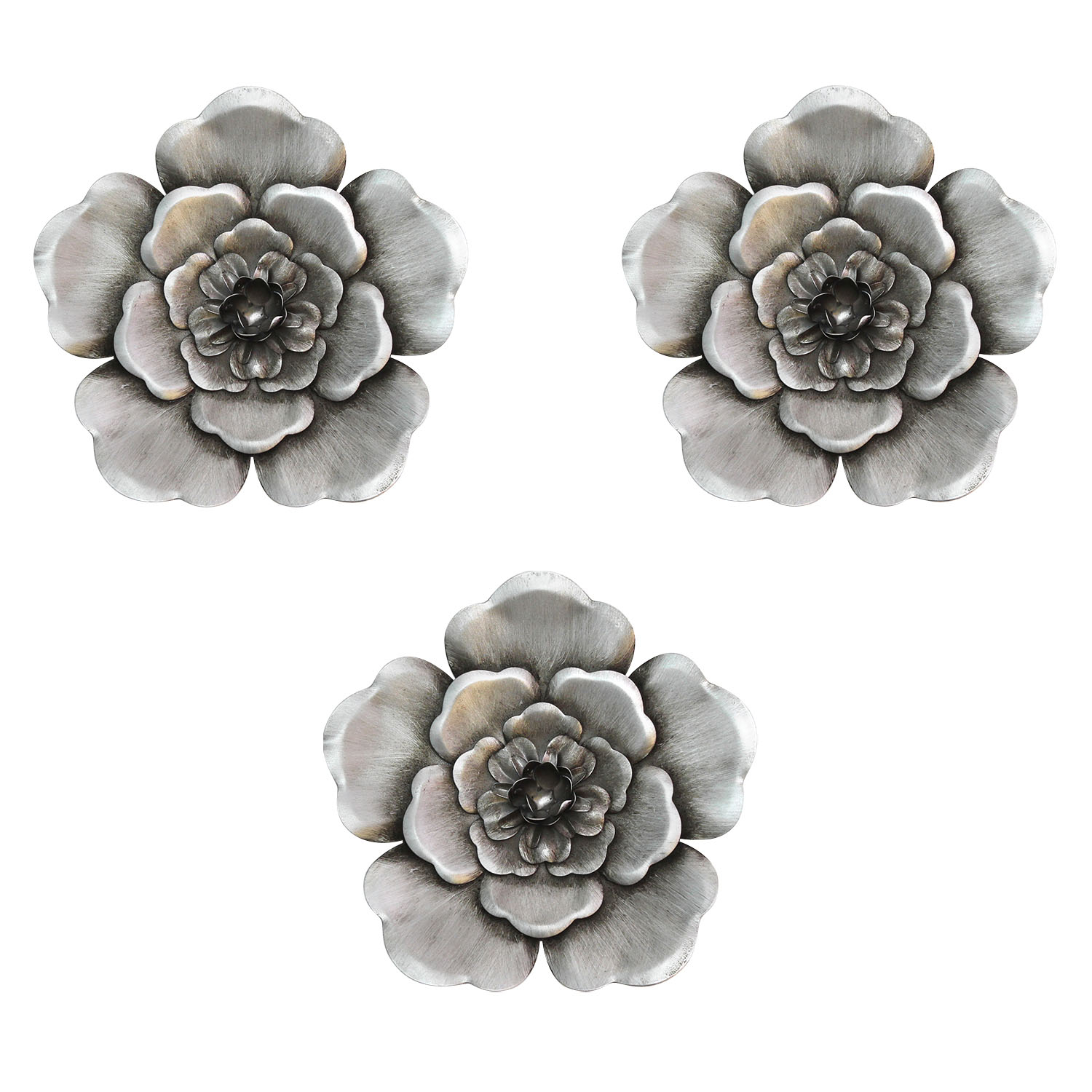 Well Known 2 Piece Multiple Layer Metal Flower Wall Decor Sets With Regard To Clickhere2Shop: Stratton Home Decor Handcrafted Silver Metal Wall (View 5 of 20)