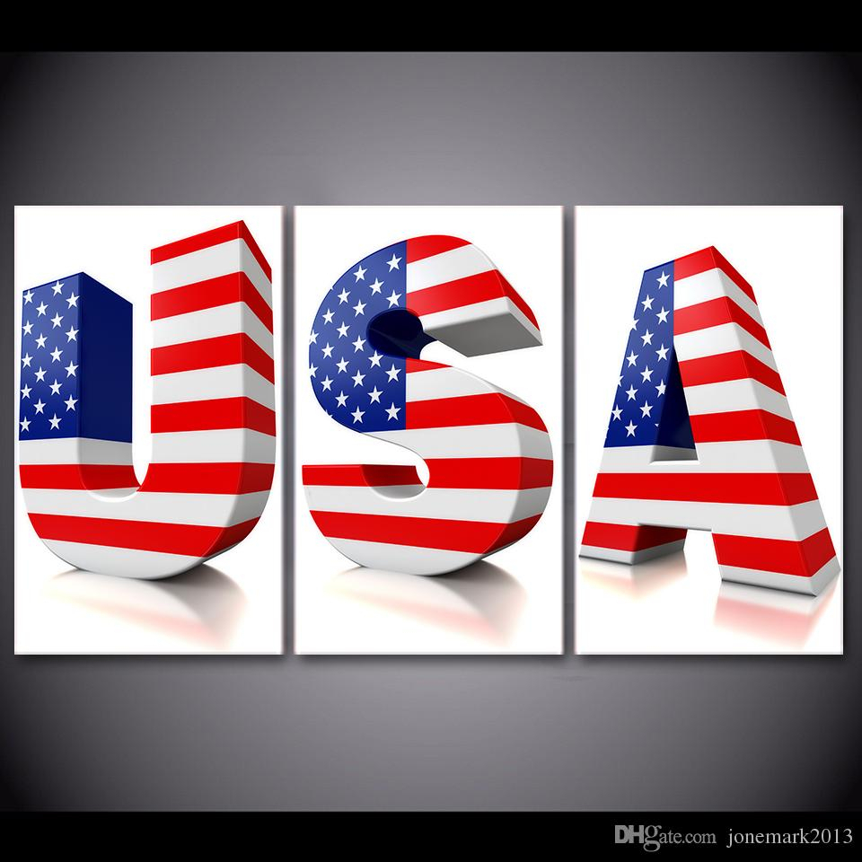 Well Known American Flag 3d Wall Decor Inside 2019 Framed Hd Printed Usa 3d Letter Us Flag Poster Picture Wall Art (View 9 of 20)