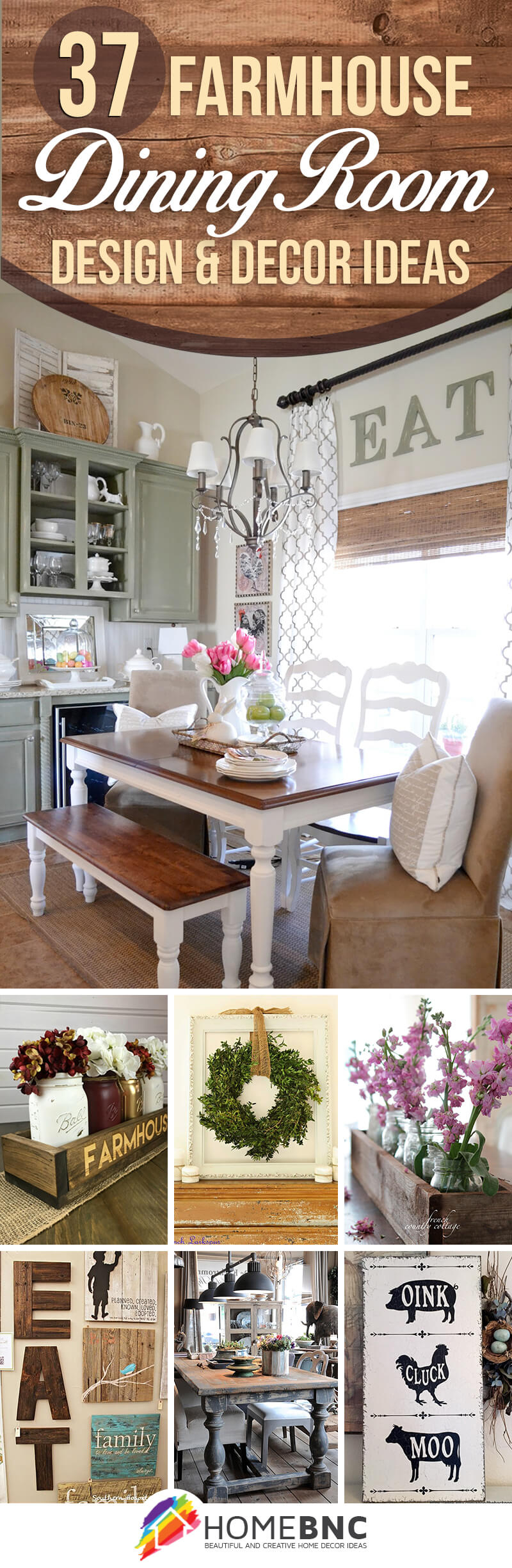 Well Known Casual Country Eat Here Retro Wall Decor With Regard To 37 Best Farmhouse Dining Room Design And Decor Ideas For 2019 (Gallery 12 of 20)