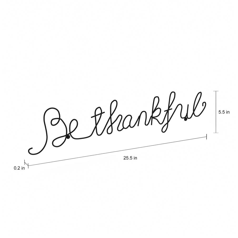 "Well Known Choose Happiness 3d Cursive Metal Wall Decor Intended For Lavish Home ""be Thankful"" Metal Cutout Sign Hw0200042 – The Home Depot (Gallery 7 of 20)"