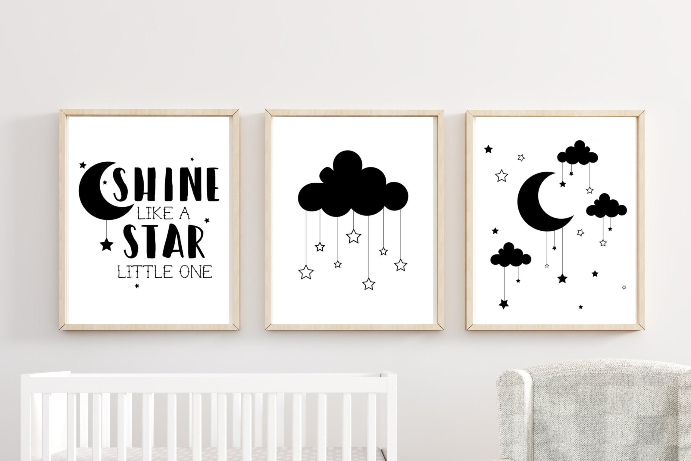 Well Known Cloud Stars Boy Nursery Decor Wall Art Printed Prints Set Cute (View 18 of 20)