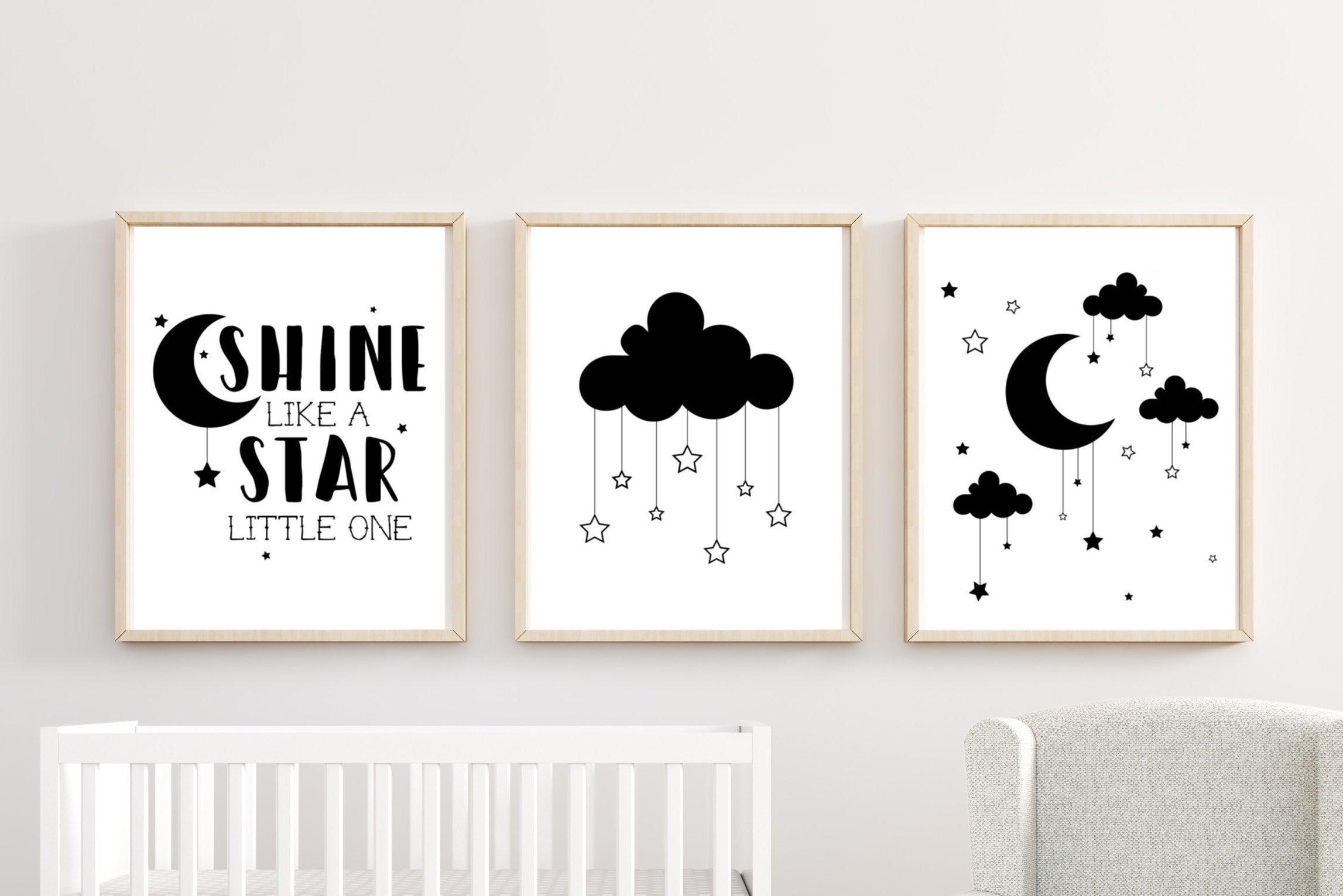 Well Known Cloud Stars Boy Nursery Decor Wall Art Printed Prints Set Cute (View 18 of 20)