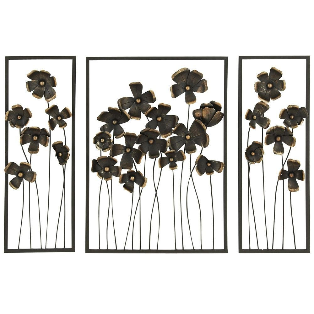 Well Known Flower Urban Design Metal Wall Decor For Urban Designs 'wild Flowers' 32 Inch Metal Outdoor 3 Panel Wall Art (View 15 of 20)