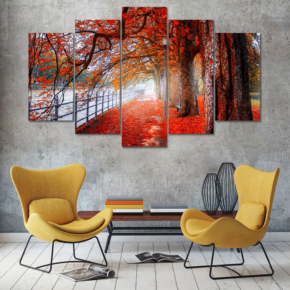 Well Known Flowing Leaves Wall Decor Intended For Canvas Painting Wall Art Home Decor Frame 5 Pieces Woods Maple (View 17 of 20)