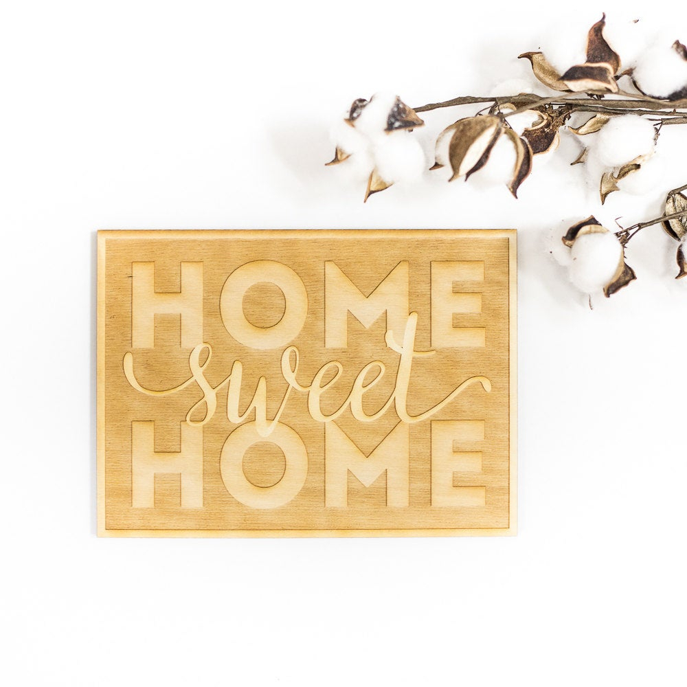 Well Known Laser Engraved Home Sweet Home Wall Decor Throughout Home Sweet Home Wood Cut Sign Engraved Wood Sign Wood Sign (Gallery 5 of 20)
