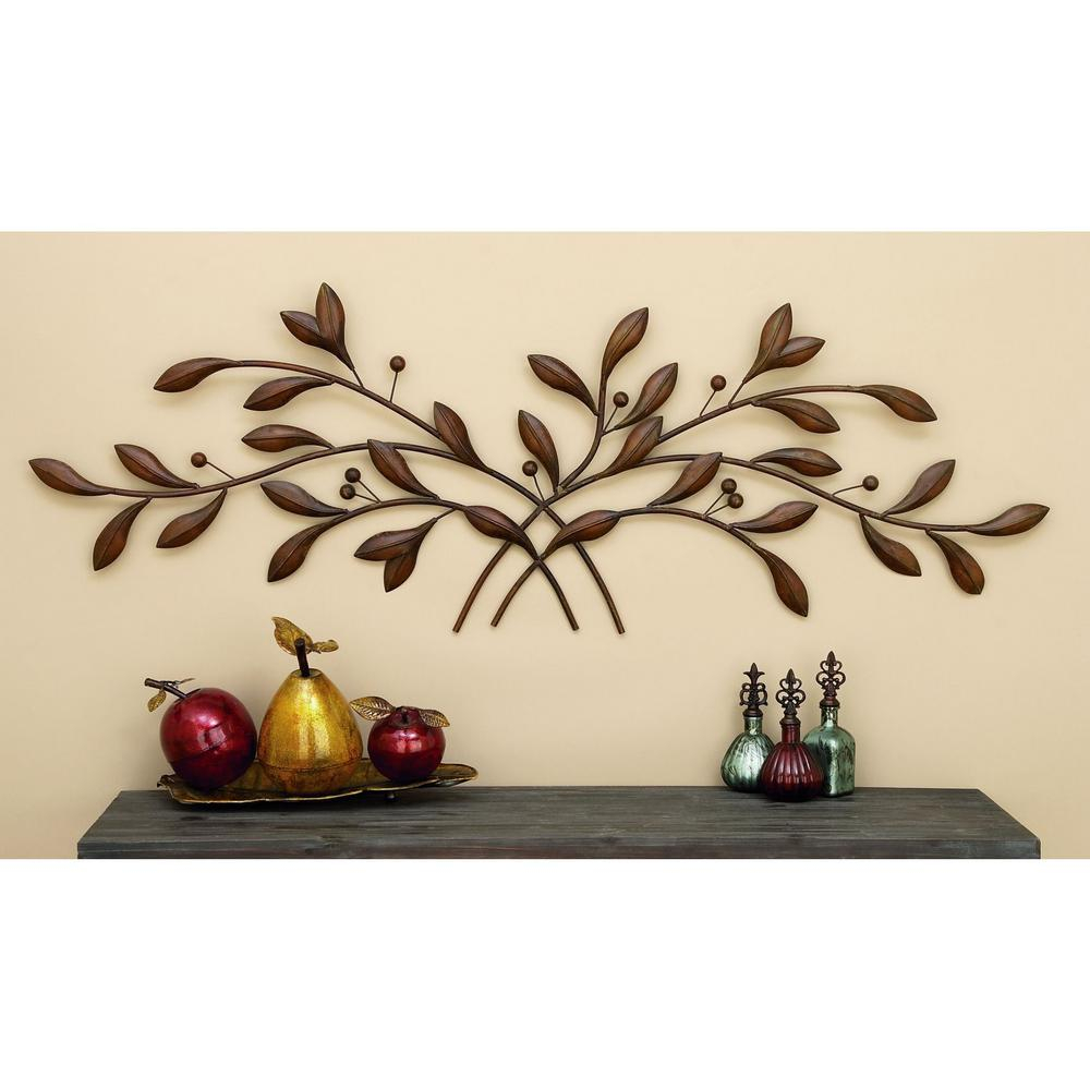 Well Known Leaves Metal Sculpture Wall Decor Inside Litton Lane 60 In (View 8 of 20)