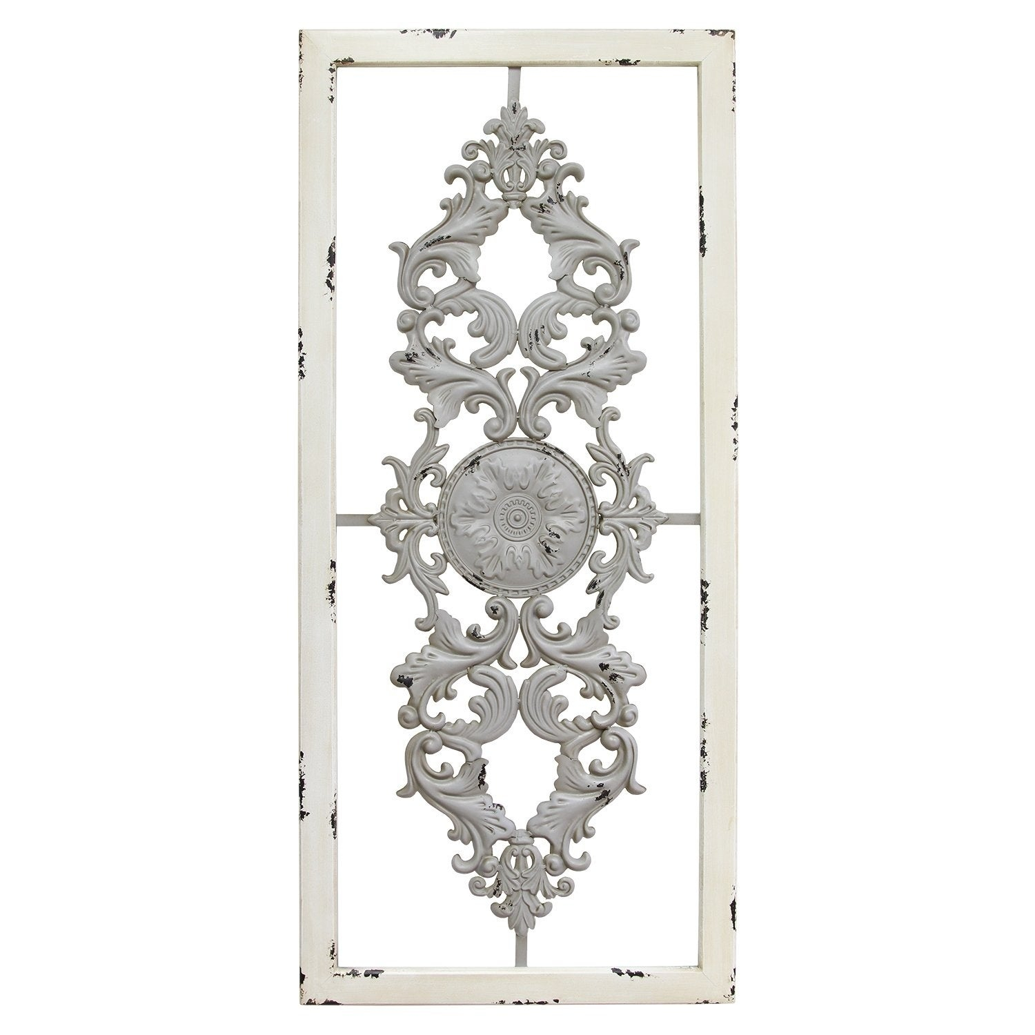Well Known Ornate Scroll Wall Decor Inside Ornate Scroll Panel Grey Wall Decor White Frame 36X16 Metal Wood (View 7 of 20)