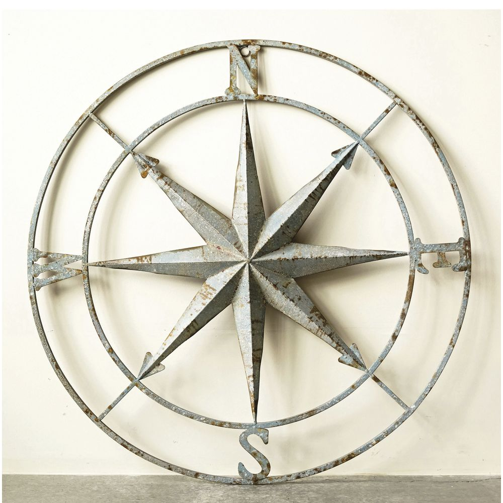"Well Known Round Compass Wall Decor Within Round Distressed Iron Compass Wall Decor – 41""dia (Gallery 1 of 20)"