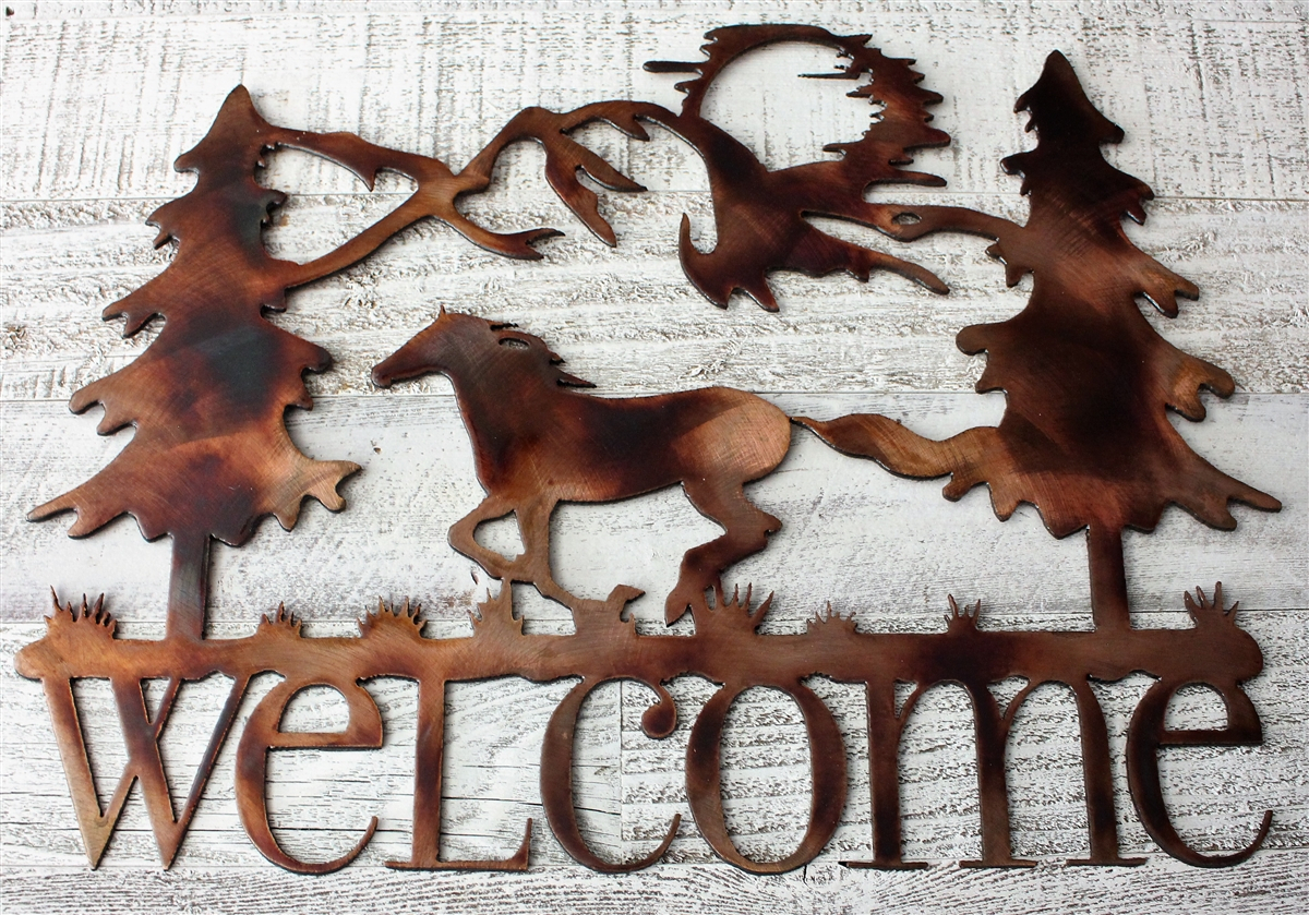 Well Known Running Horse Welcome Metal Wall Art Decorhgmw In Tree Welcome Sign Wall Decor (Gallery 20 of 20)