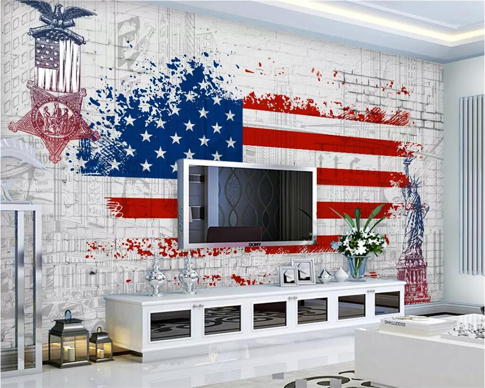 Well Liked American Flag 3D Wall Decor With Regard To Beibehang Custom Wallpaper Retro American Flag Graffiti Tv (View 19 of 20)