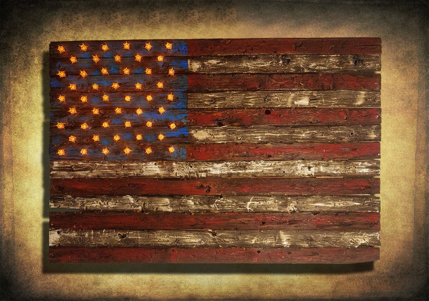 Well Liked American Flag, Weathered Wood, Edison Bulb, 3d, Wooden, Vintage, Art Within American Flag 3d Wall Decor (View 11 of 20)