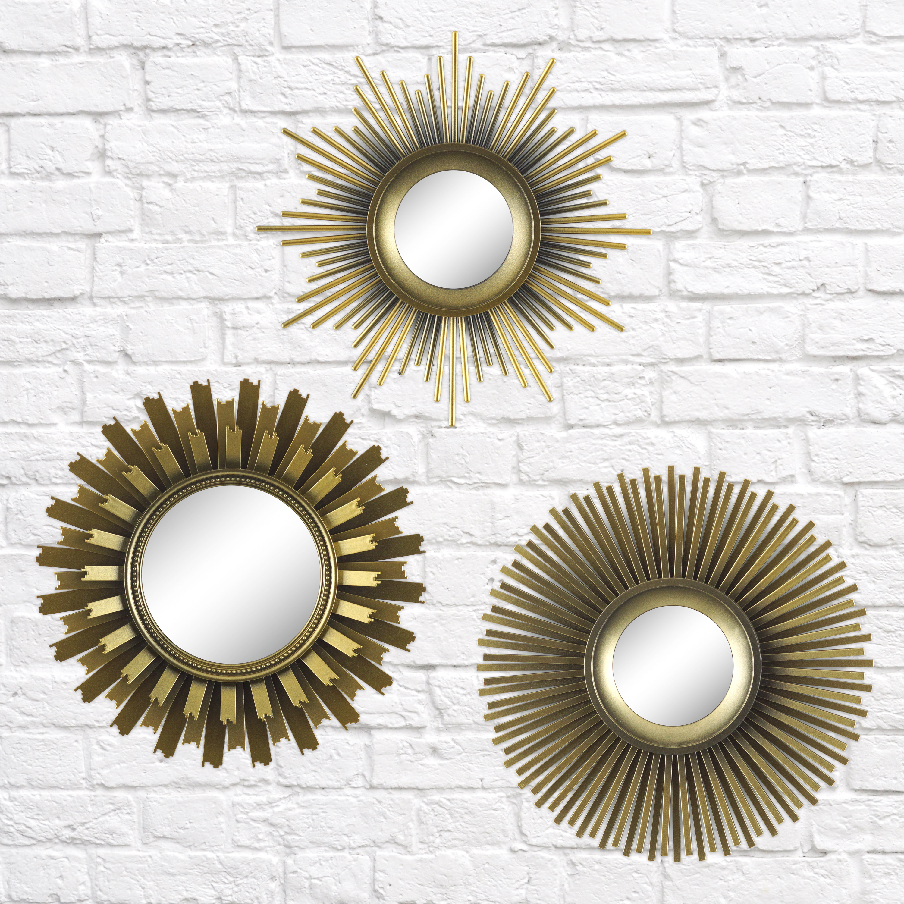 Well Liked Better Homes & Gardens 3 Piece Round Sunburst Mirror Set In Gold With Regard To 2 Piece Starburst Wall Decor Sets (View 19 of 20)