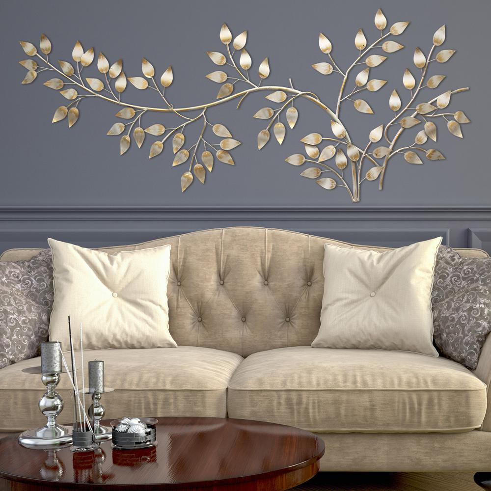 Well Liked Flowing Leaves Wall Decor For Stratton Home Decor Brushed Gold Flowing Leaves Wall Decor Shd0106 (Gallery 1 of 20)