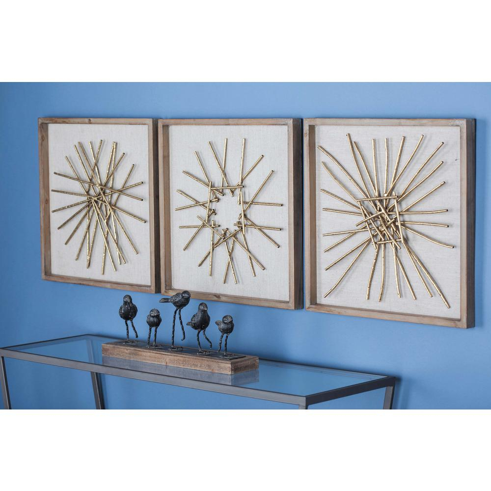 Well Liked Litton Lane 3 Piece Modern Abstract Gold Finished Iron Accents Metal Inside 3 Piece Magnolia Brown Panel Wall Decor Sets (View 19 of 20)