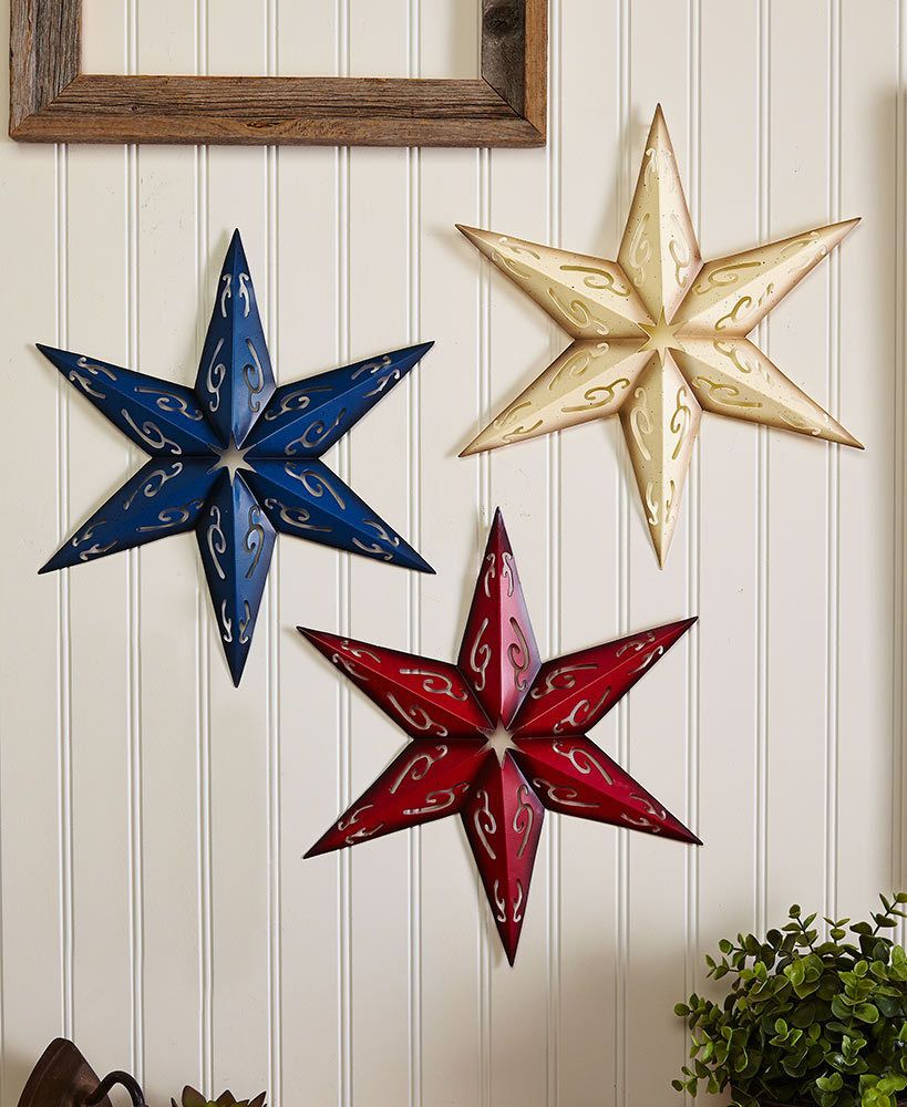 Well Liked Sets Of 3 Metal Wall Stars, Holiday & Seasonal Decor, 4Th Of July Inside 3 Piece Star Wall Decor Sets (View 19 of 20)