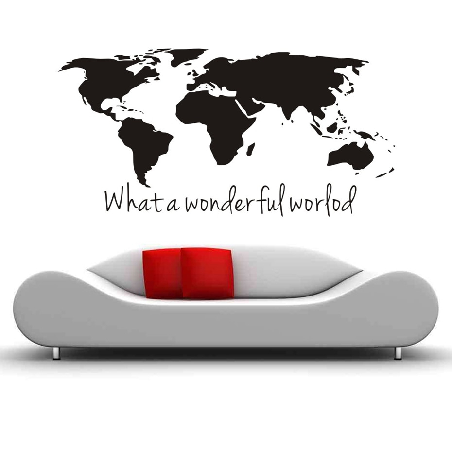Well Liked What A Wonderful World Map Diy Wall Stickers Bedroom Home Decor Regarding Wonderful World Wall Decor (View 14 of 20)