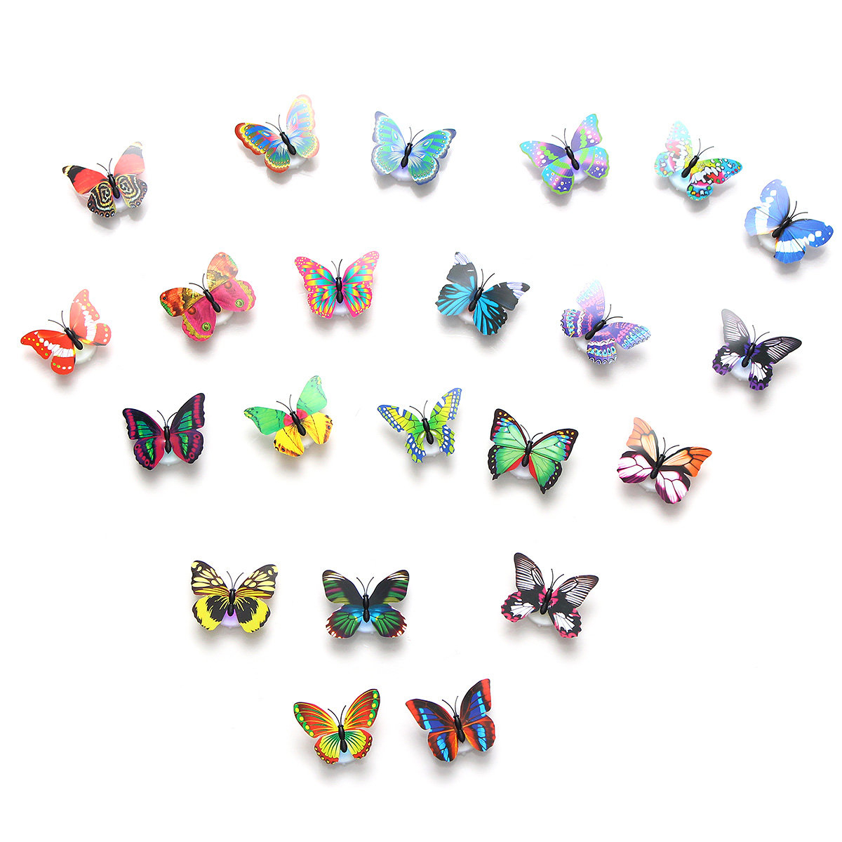 Widely Used 2Pcs Led Glowing 3D Butterfly Night Light Sticker Art Design Mural In 3 Piece Capri Butterfly Wall Decor Sets (View 20 of 20)