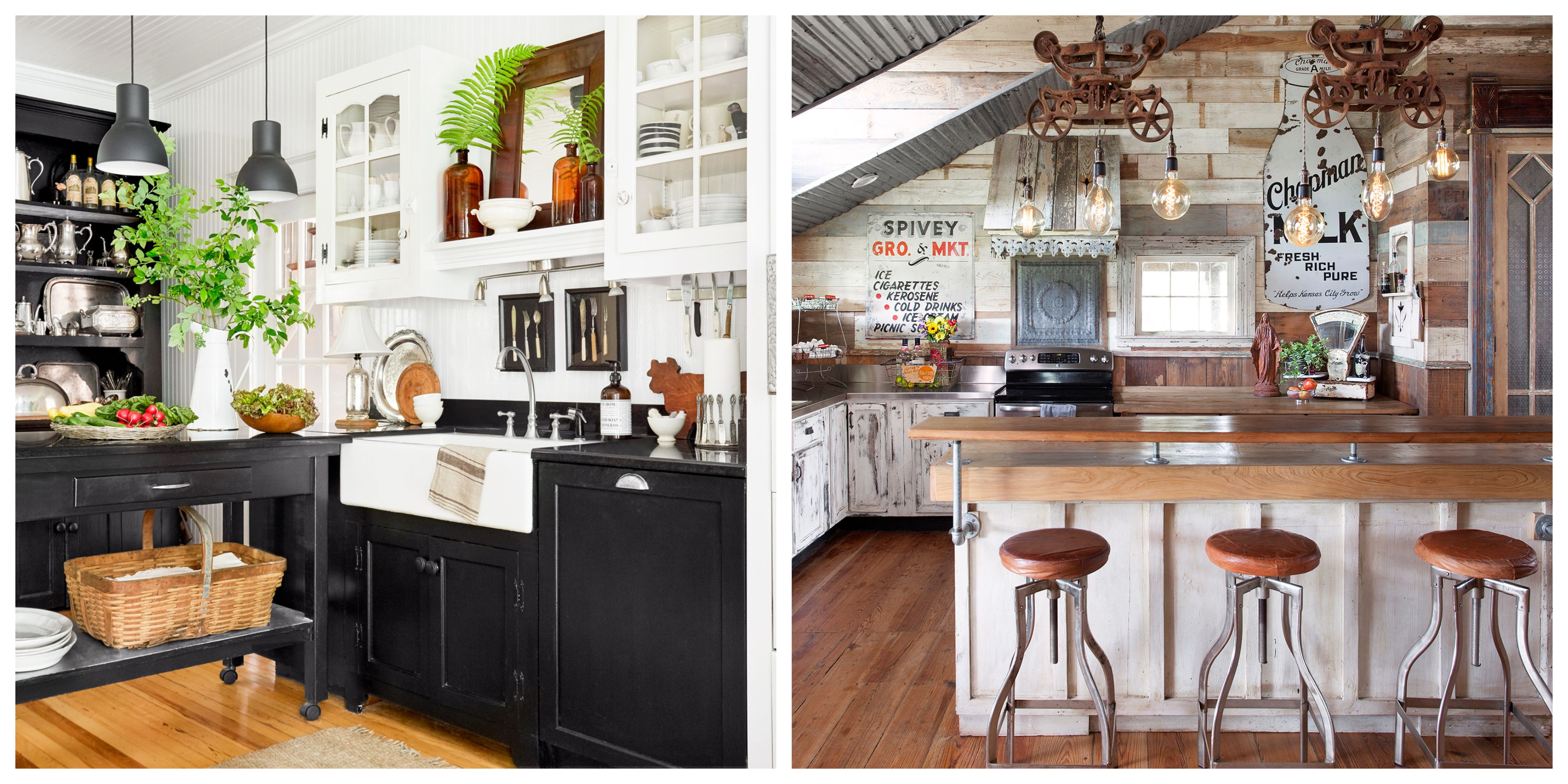 Widely Used 34 Farmhouse Style Kitchens – Rustic Decor Ideas For Kitchens With Farm Metal Wall Rack And 3 Tin Pot With Hanger Wall Decor (View 20 of 20)