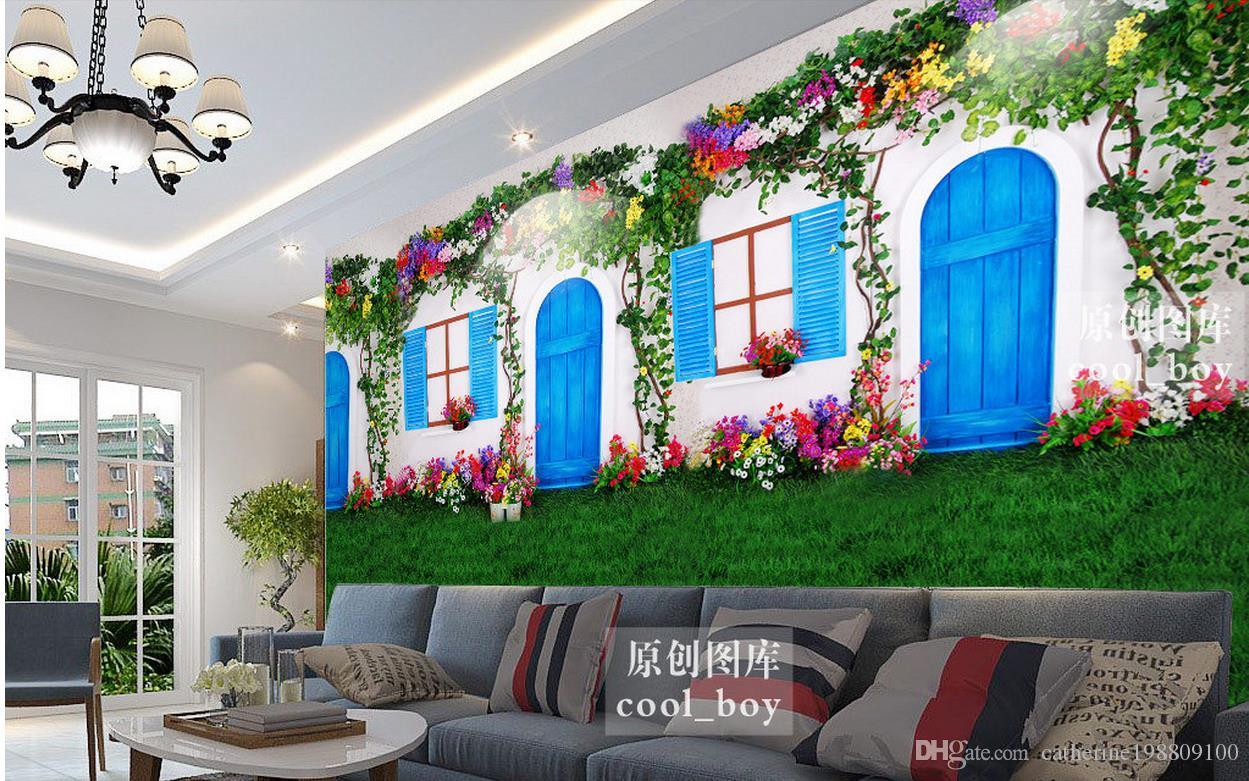 Widely Used Custom 3d Wallpaper European White Door And Window Flowers Vines Pertaining To Three Flowers On Vine Wall Decor (View 16 of 20)