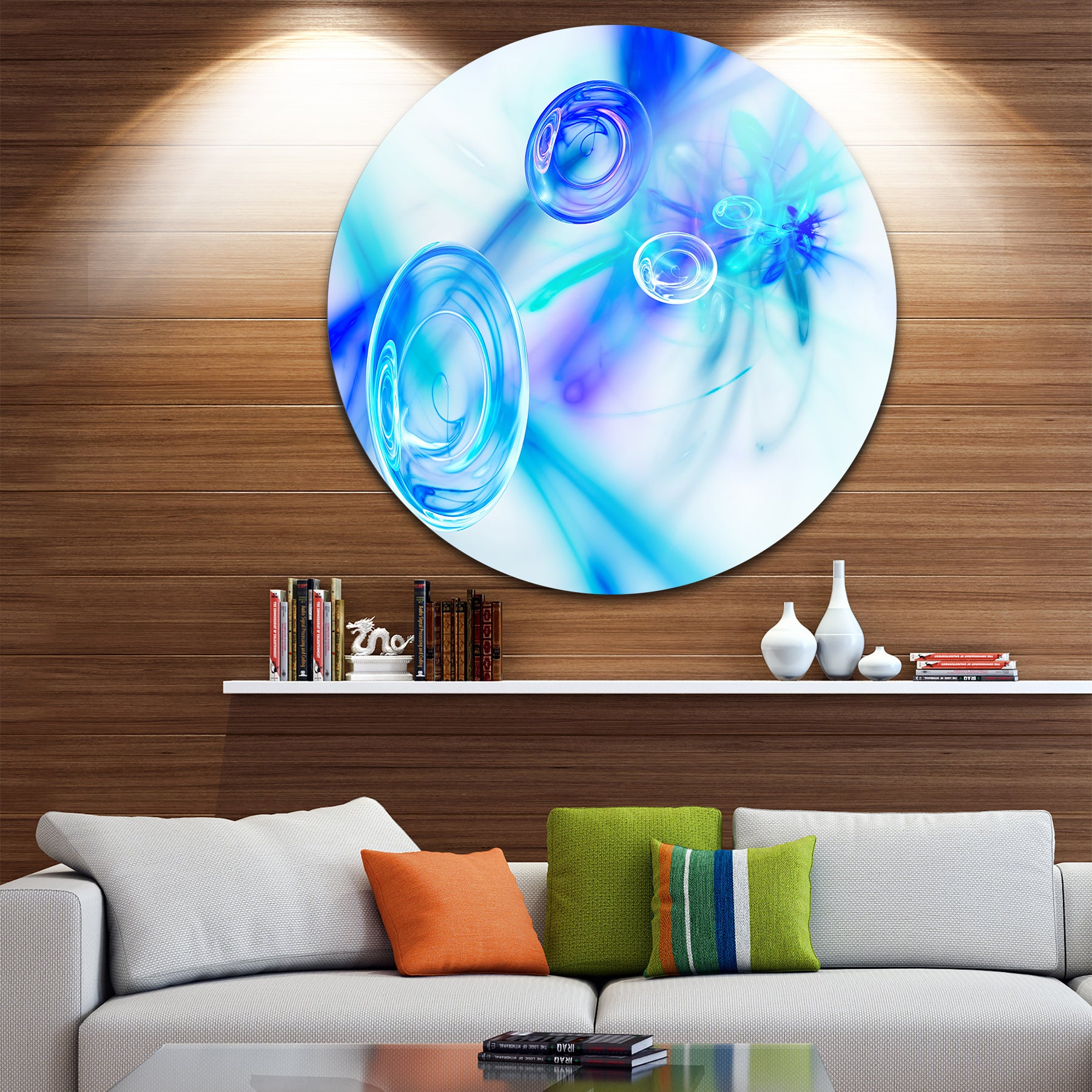 Widely Used Shop Designart 'light Blue Fractal Desktop Wallpaper' Abstract For Contemporary Abstract Round Wall Decor (Gallery 14 of 20)