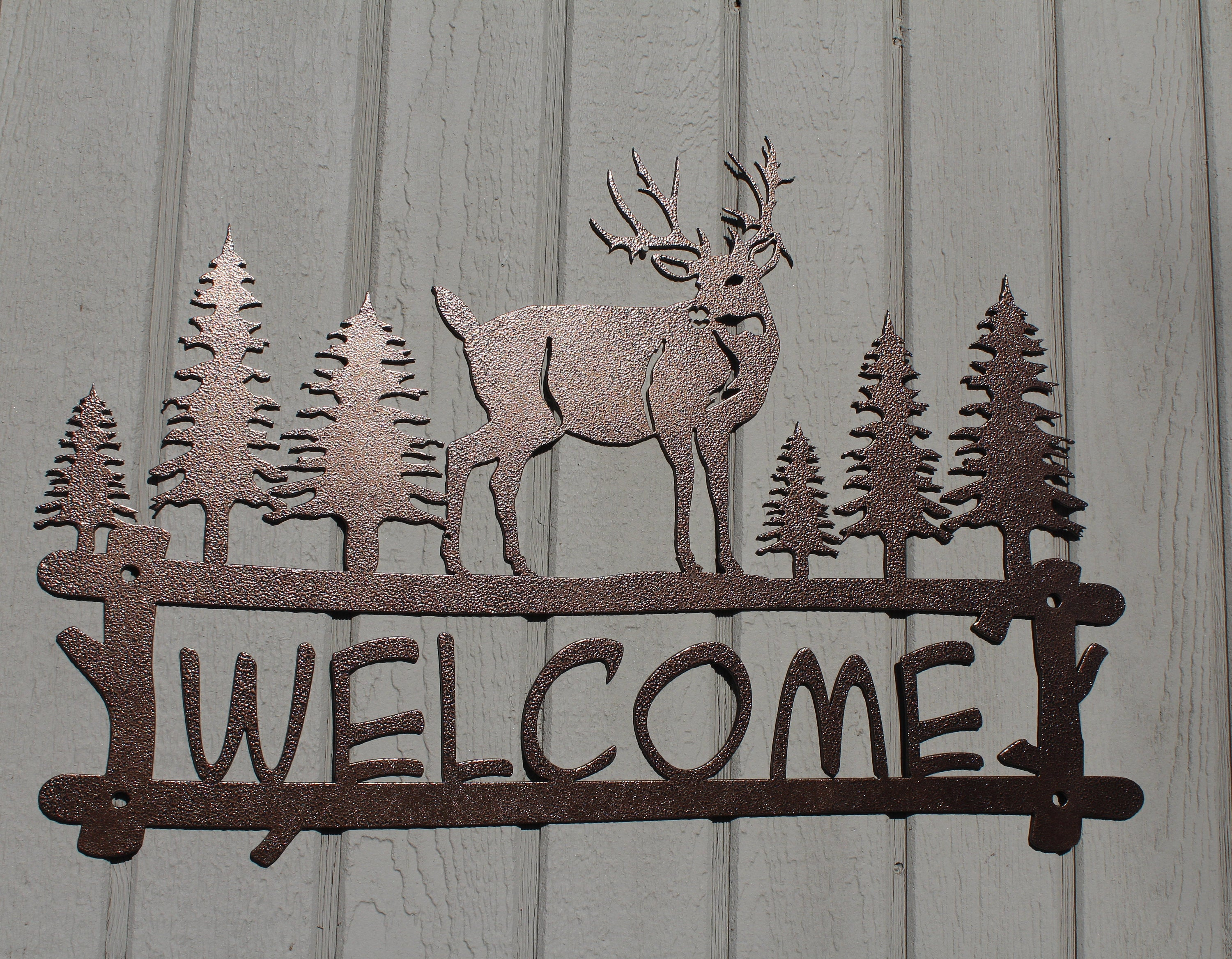 Widely Used Tree Welcome Sign Wall Decor Inside Deer And Trees Welcome Sign Metal Wall Art (View 2 of 20)