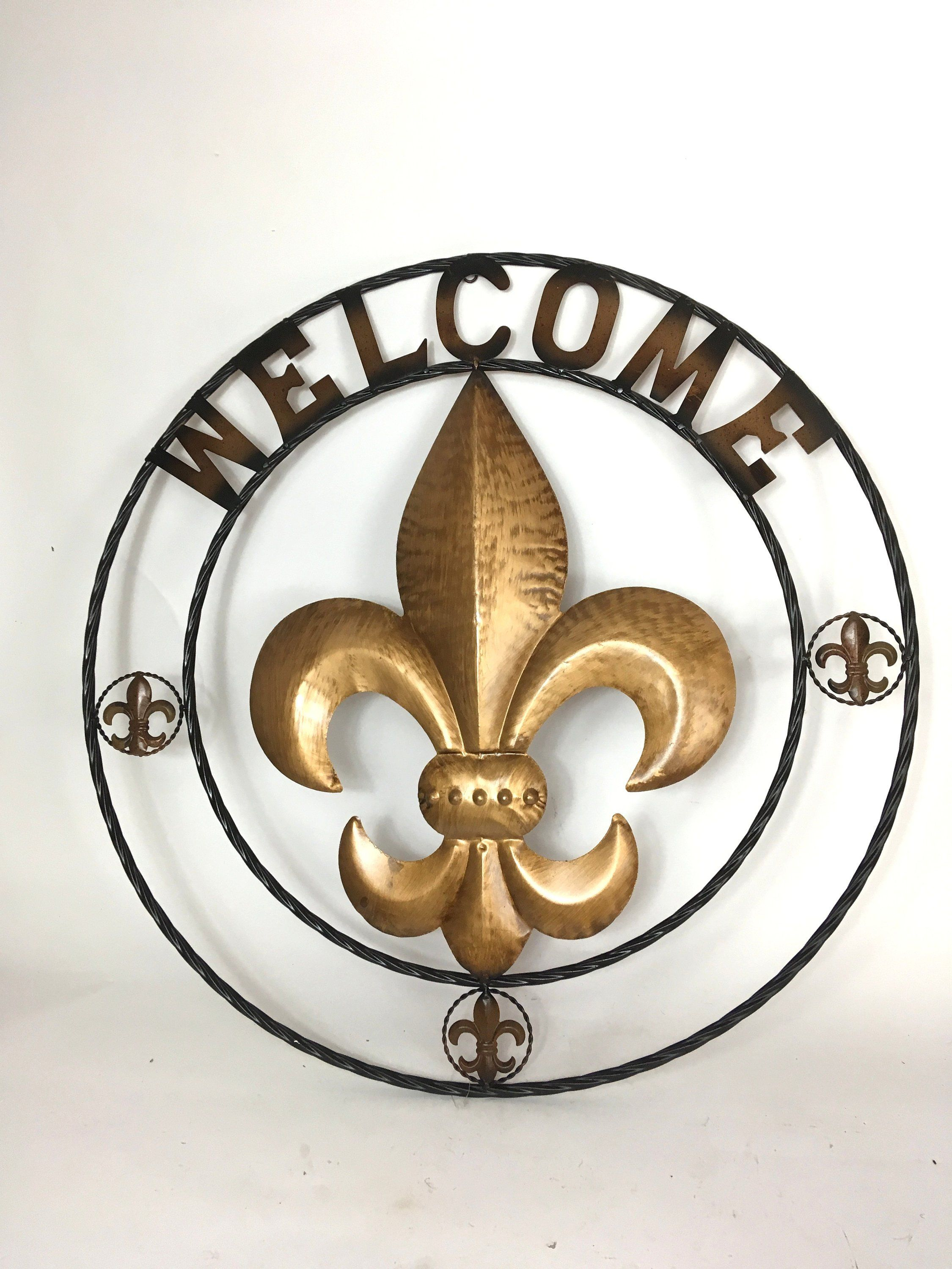 Widely Used Welcome Fleur De Lis / Twisted Circle / Rope Ring / Wall Hanging Intended For Metal Rope Wall Sign Wall Decor (Gallery 15 of 20)