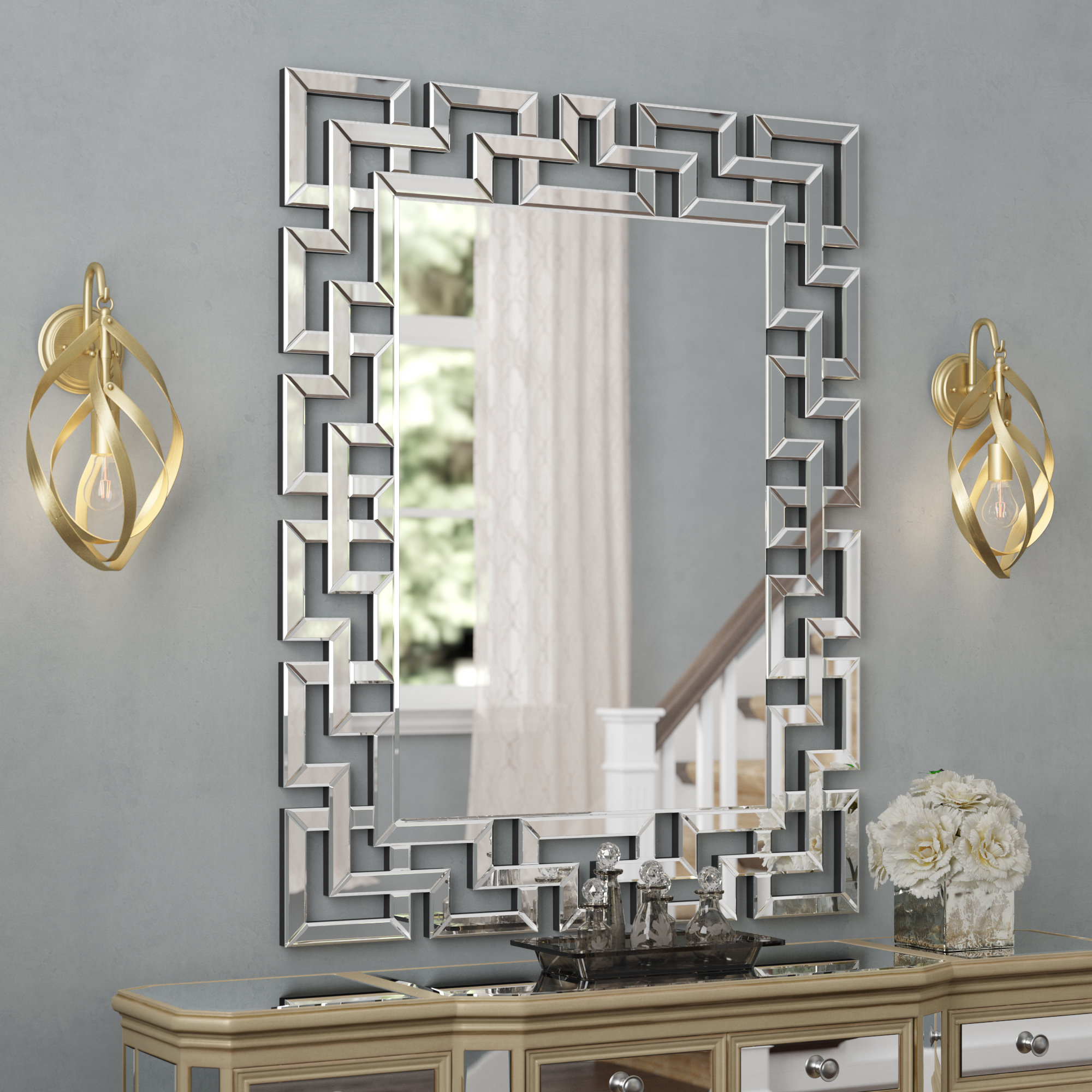 Willa Arlo Interiors Caja Rectangle Glass Frame Wall Mirror With Most Current Pennsburg Rectangle Wall Mirror (View 3 of 20)