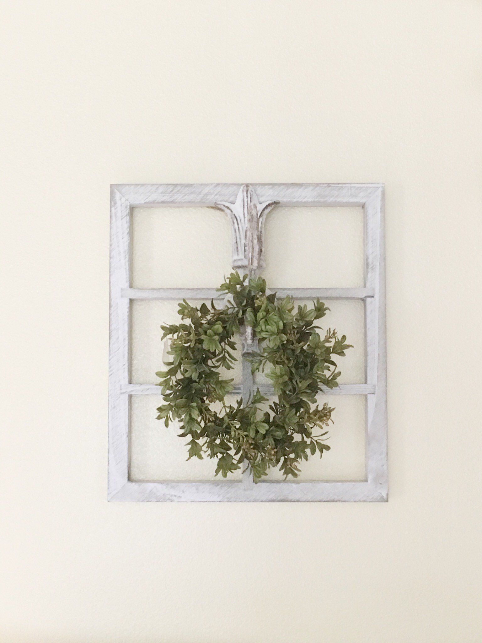 Window Frame Wall Decor – Farmhouse Wall Decor – French Country Regarding Most Popular Floral Wreath Wood Framed Wall Decor (View 19 of 20)