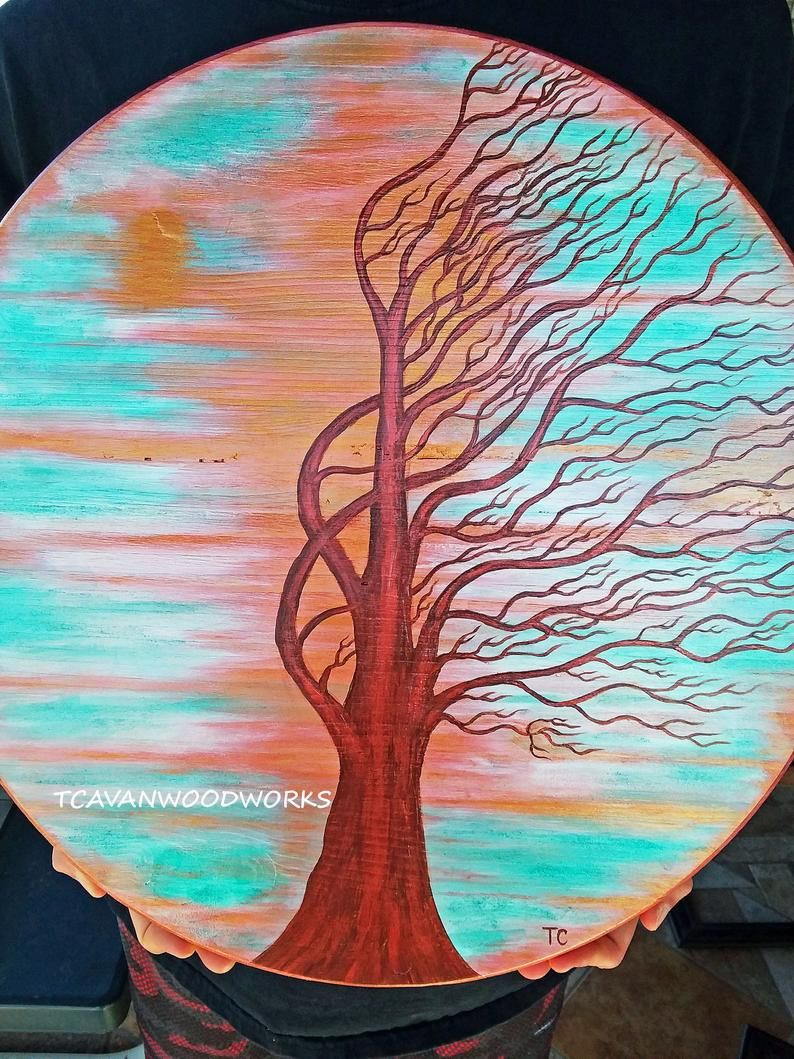 Windswept Tree Painting Reserved For Jamie, Tree Painting On Wood Pertaining To Most Recently Released Windswept Tree Wall Decor (View 14 of 20)