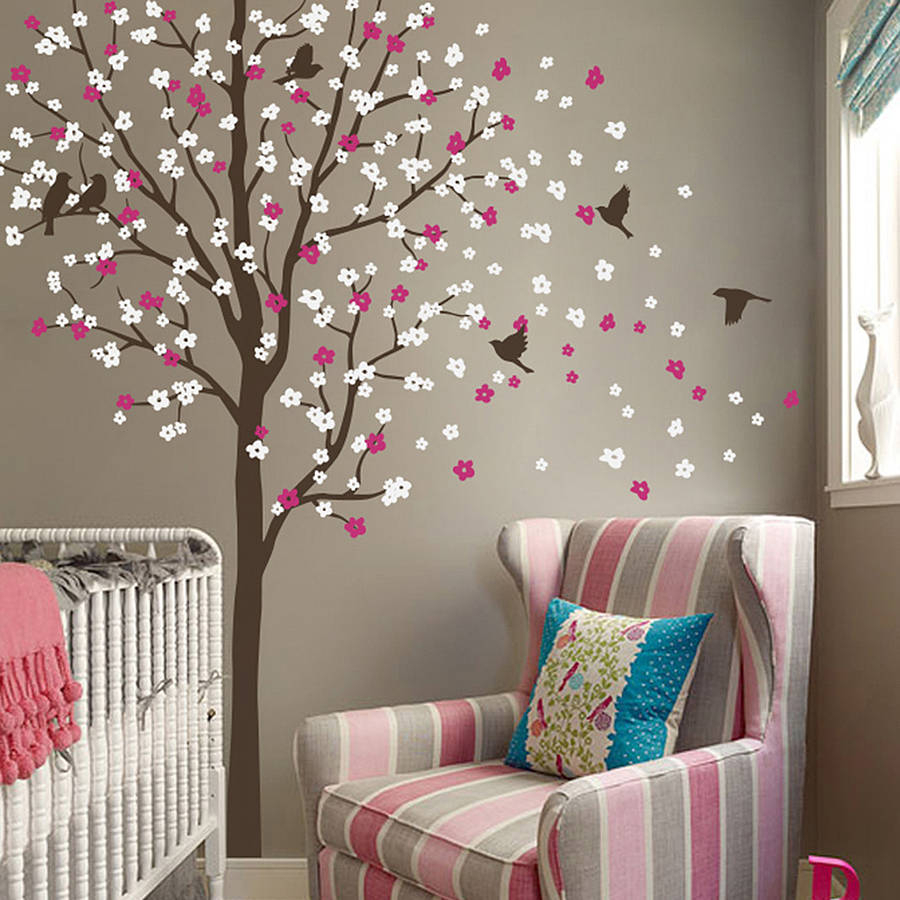 Windswept Tree Wall Decor With Fashionable Wind Swept Tree With Birds Wall Stickerwall Art (View 9 of 20)