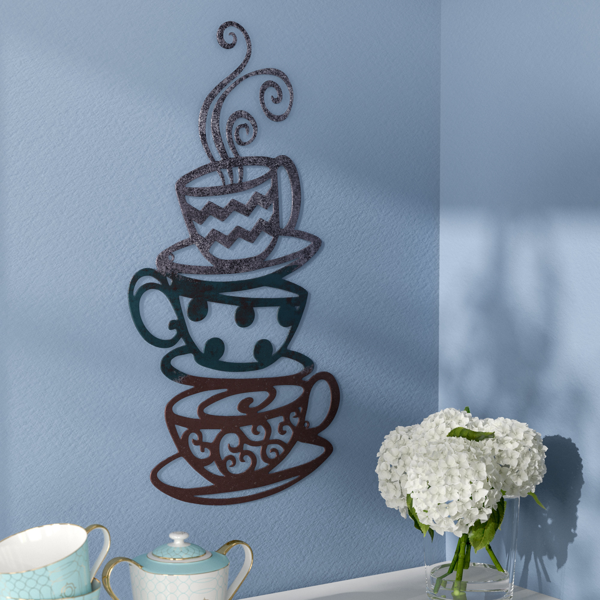 Featured Photo of Decorative Three Stacked Coffee Tea Cups Iron Widget Wall Decor