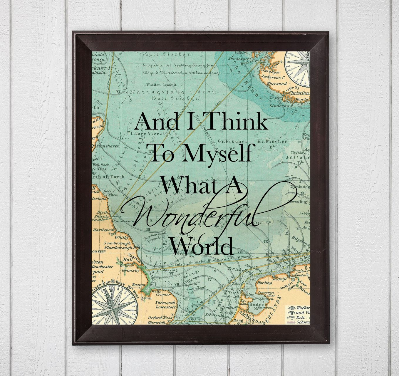 Wonderful World Wall Decor With Popular And I Think To Myself What A Wonderful World Map 8X10 Printable Wall (Gallery 4 of 20)