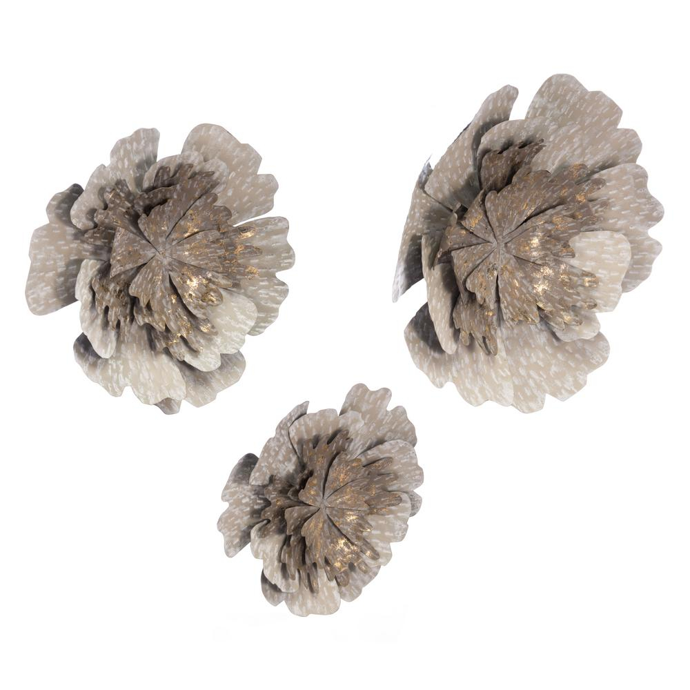 Zuo Metal Antique Flowers Wall Decor (Set Of 3) A10680 – The Home Depot With Regard To Famous Metal Flower Wall Decor (Set Of 3) (View 20 of 20)