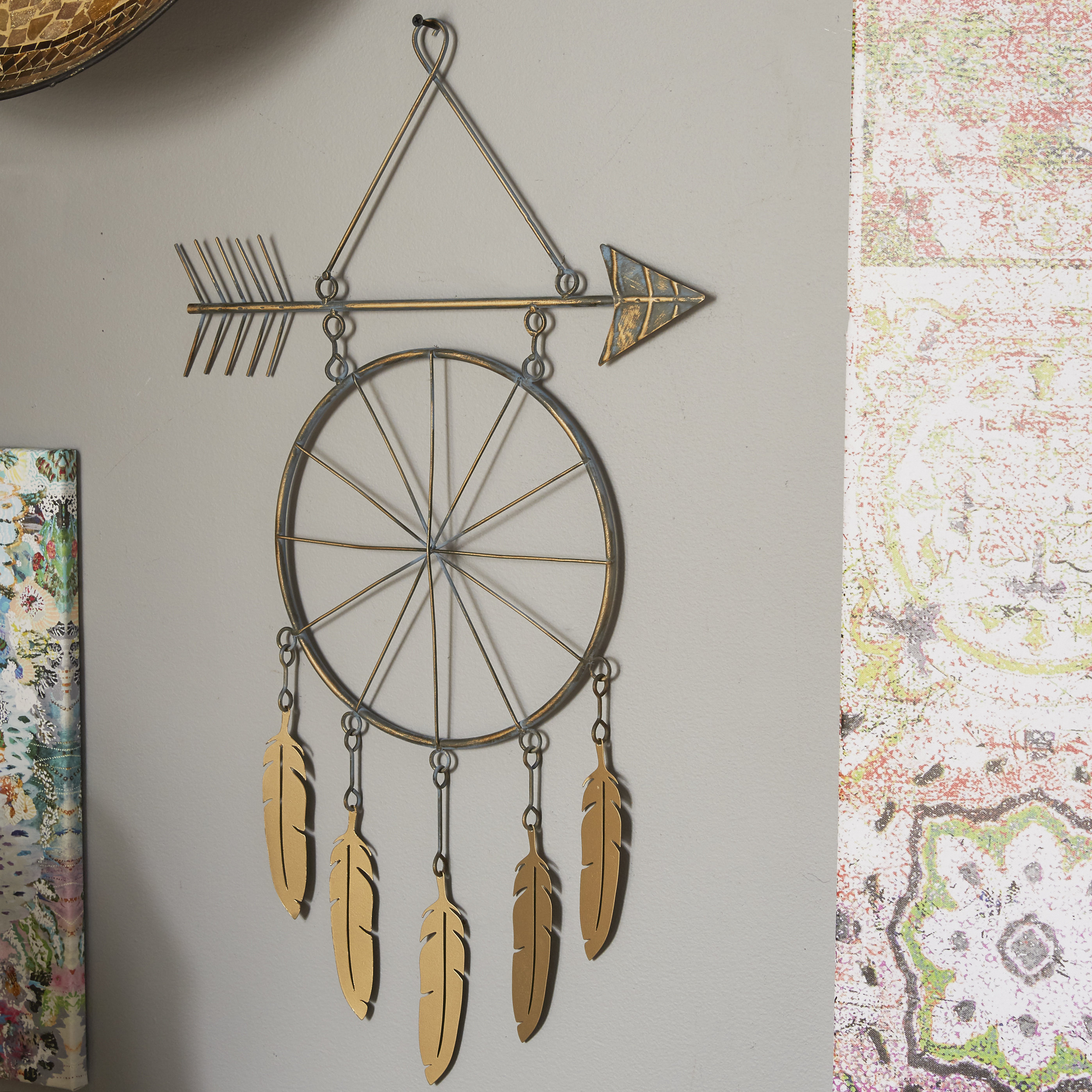 2019 Brown Metal Tribal Arrow Wall Decor Regarding Metal Arrow And Feather Wall Décor & Reviews (Gallery 6 of 20)