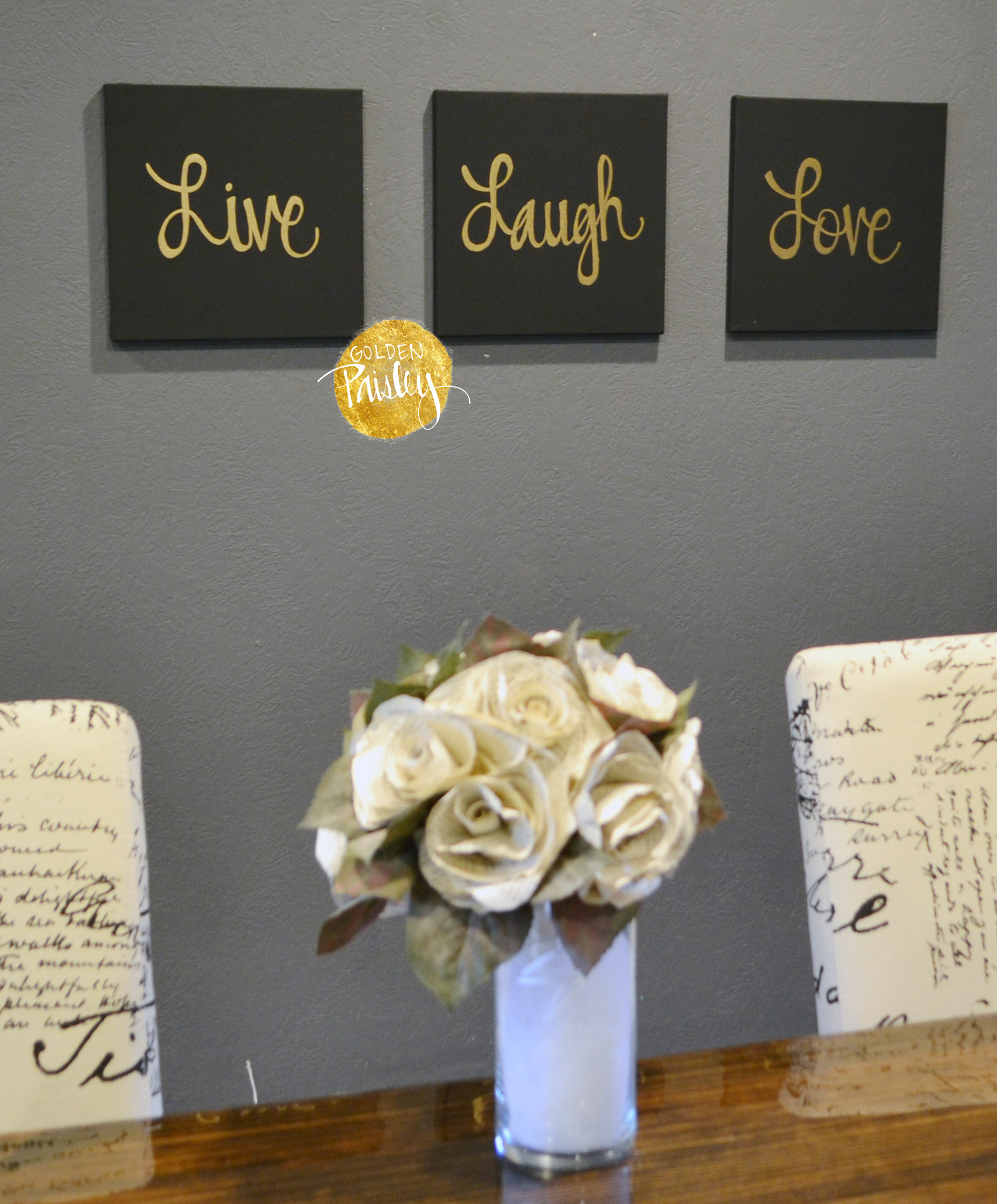 2019 Live Laugh Love Black & Gold 3 Piece Wall Decor Set Pertaining To Live Love Laugh 3 Piece Black Wall Decor Sets (View 1 of 20)