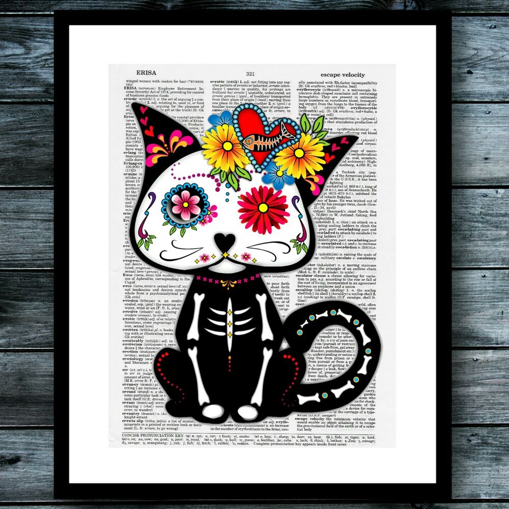 2019 Sugar Skull Cat Bohemian Modern Vintage Dictionary Poster Wall Art For Dance Of Desire Wall Decor (View 1 of 20)