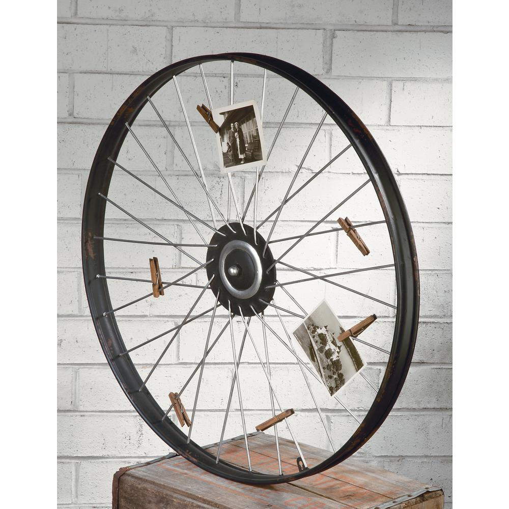 2019 Tripar International Metal Wheel Wall Decor With Clips For Photos Or With Millanocket Metal Wheel Photo Holder Wall Decor (View 3 of 20)
