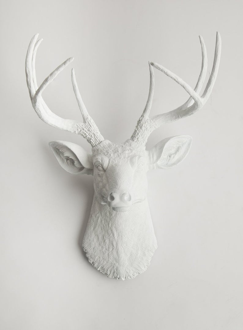 2020 Large Deer Head Faux Taxidermy Wall Decor With White Deer Head Wall Mount The Templetonwhite Faux (View 1 of 20)