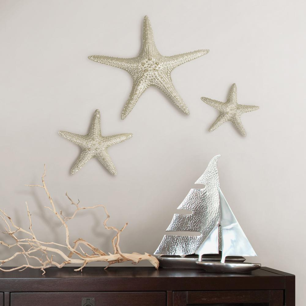 2020 Yelton 3 Piece Starfish Wall Decor Sets Pertaining To Fetco Yelton Platinum Starfish Set X67600b – The Home Depot (View 8 of 20)