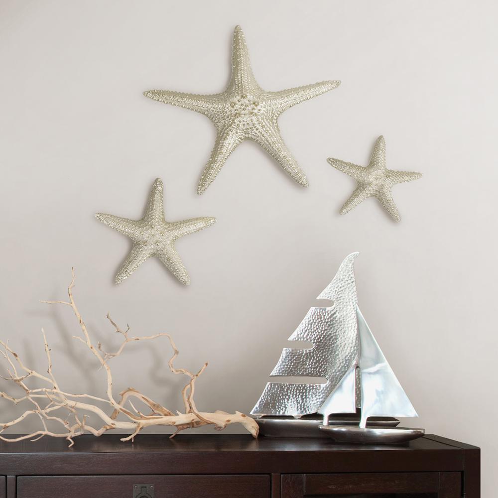 2020 Yelton 3 Piece Starfish Wall Decor Sets Pertaining To Fetco Yelton Platinum Starfish Set X67600B – The Home Depot (View 2 of 20)