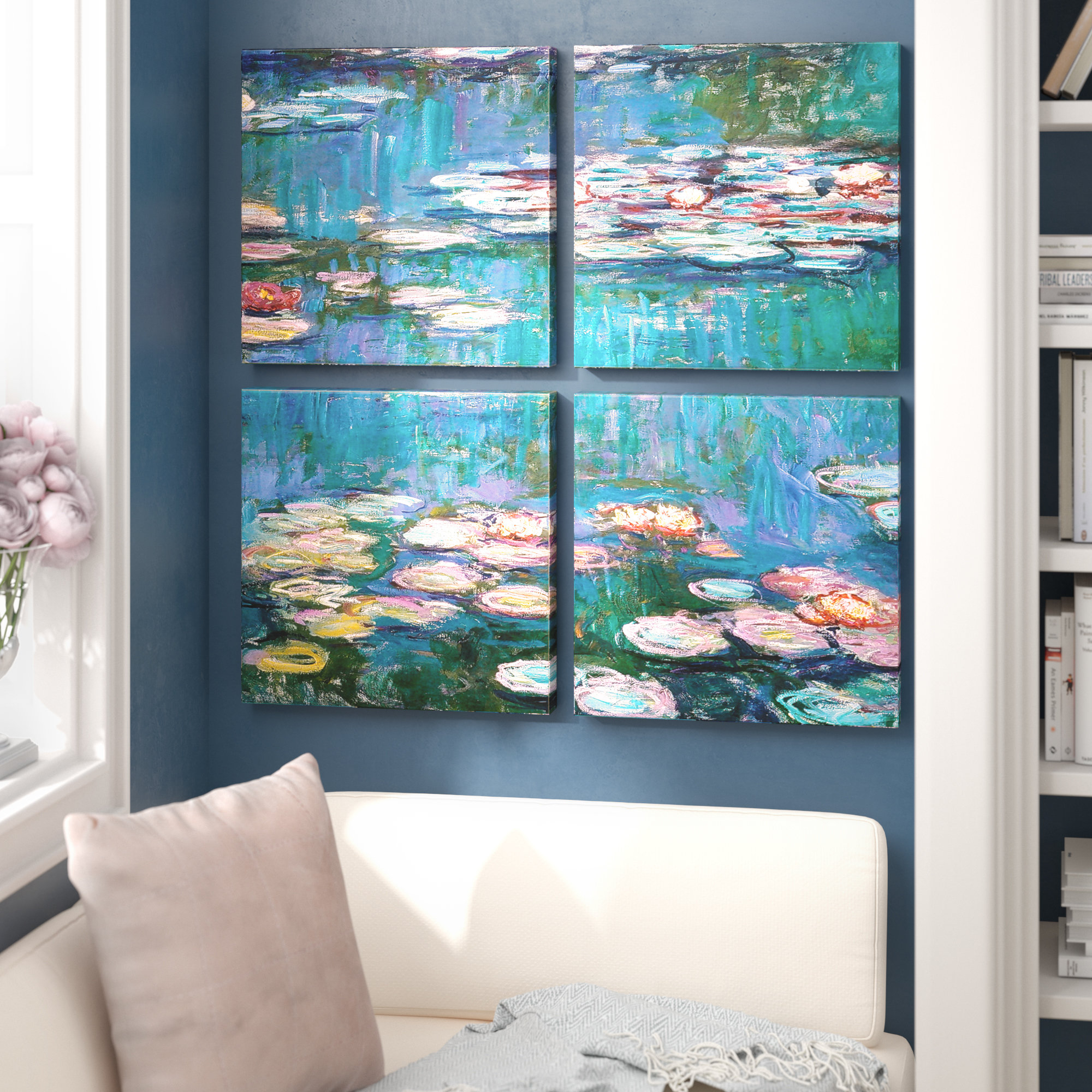 4 Piece Wall Decor Sets By Charlton Home Throughout Latest Charlton Home 'water Lilies'claude Monet 4 Piece Painting Print (Gallery 11 of 20)