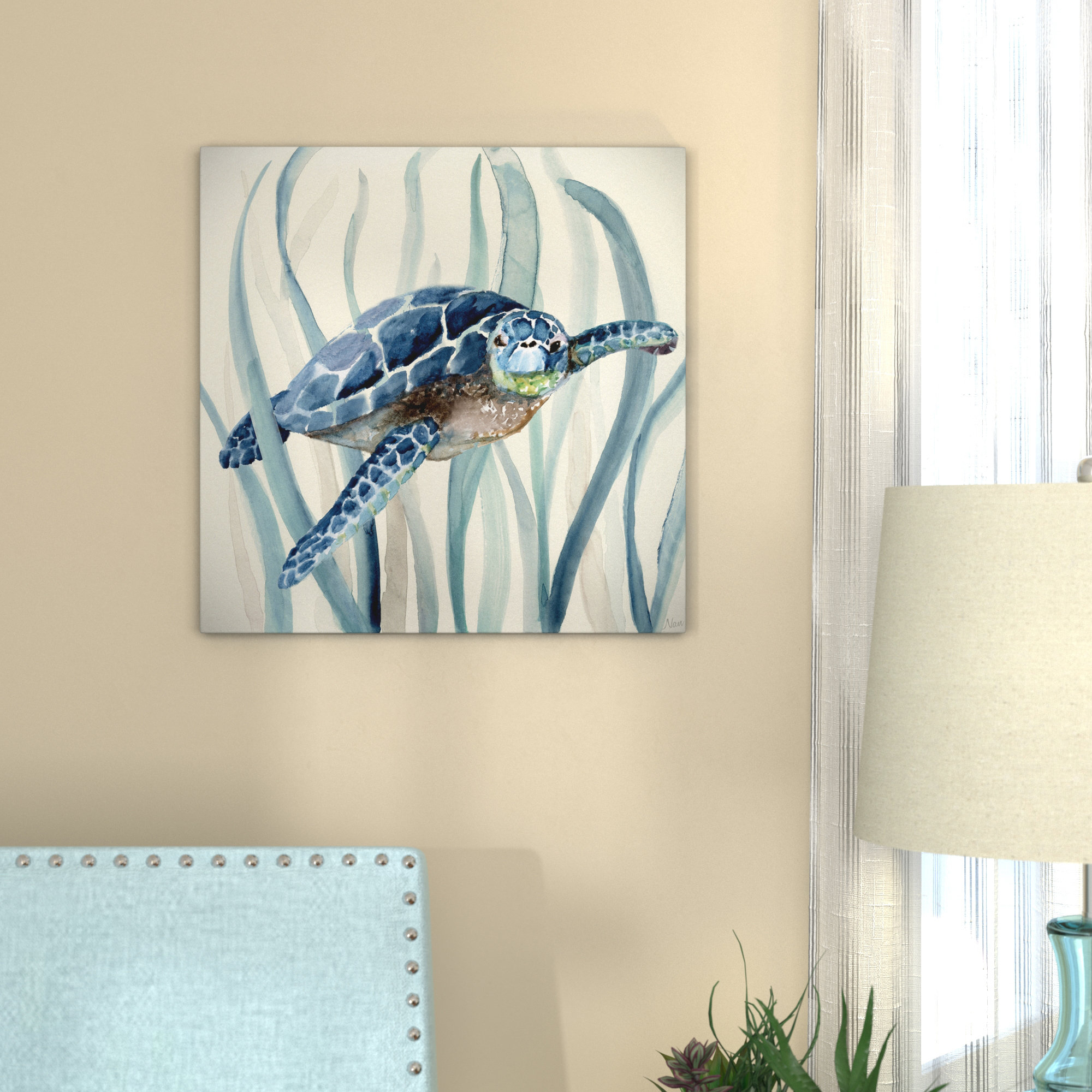 Bay Isle Home 'turtle In Seagrass I' Oil Painting Print On Wrapped Intended For Recent Rhys Turtle Decor Wall Decor (View 1 of 20)